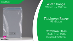 Watch a short video on 100% Recycled Grey Mailing Bags in Handypacks