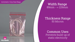 Watch a short video about our Pink Antistatic Grip Seal Bags