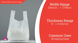 Watch a short video about our Cheap and Cheerful White Vest Carrier bags
