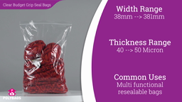 Watch a short video about our Clear Budget Gripper Bags