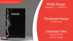 Watch a short video about our Black Extra-Strong Patch Handle Carrier bags (75mu)