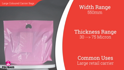 "Watch a short video about our Large Coloured Carrier bags (22-26"" Wide)"