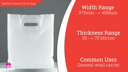 "Watch a short video about our Medium Coloured Carrier bags (15-20"" Wide)"