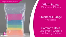 Watch a short video on multi-language compostable peel and seal safety bags
