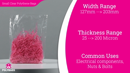 "Watch a short video about our Small (5-8"" Wide) polythene bags"