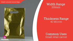 "Watch a short video about our Small Coloured Carrier bags (8-12"" Wide)"