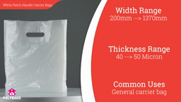 Watch a short video about our White Patch Handle Carrier bags