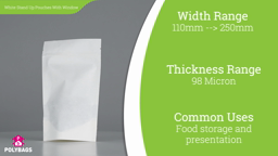 Watch a short video about our White Paper Window Stand-Up Food Pouches