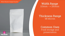 Watch a short video about our White Paper Window Stand-Up Pouches